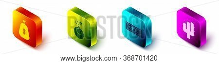 Set Isometric Money Bag, Bomb Ready To Explode, Stacks Paper Money Cash And Cactus Icon. Vector.