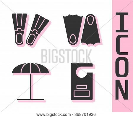 Set Please Do Not Disturb, Rubber Flippers, Sun Protective Umbrella For Beach And Rubber Flippers Ic