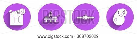 Set Bio Fuel Canister, Oil Platform In The Sea, Industry Pipes And Valve And Bio Fuel Icon With Long
