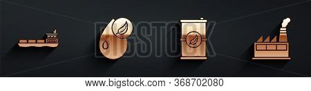 Set Oil Tanker Ship, Bio Fuel, Bio Fuel Barrel And Oil Industrial Factory Building Icon With Long Sh
