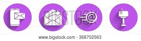 Set Mobile And Envelope, Outgoing Mail, Mail And E-mail And Mail Box Icon With Long Shadow. Vector.