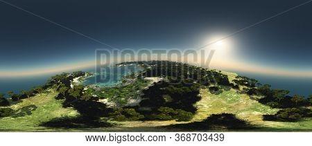 River estuary 360 panorama 3d rendering