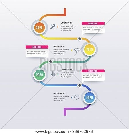 Timeline Infographic Tools Business Template, Can Be Used For Presentation, Web Or Workflow Diagram