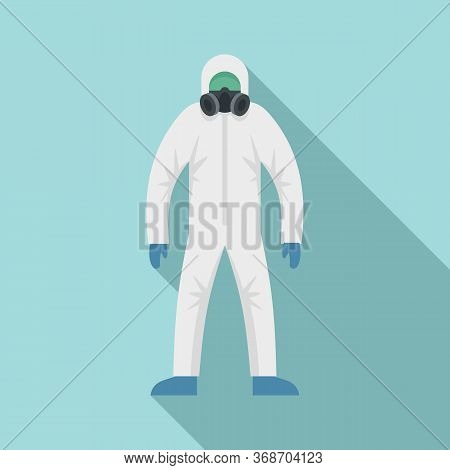 Man In Radiation Costume Icon. Flat Illustration Of Man In Radiation Costume Vector Icon For Web Des