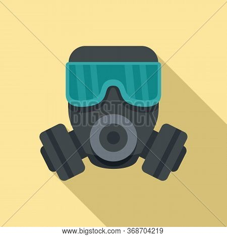 Gas Mask Icon. Flat Illustration Of Gas Mask Vector Icon For Web Design