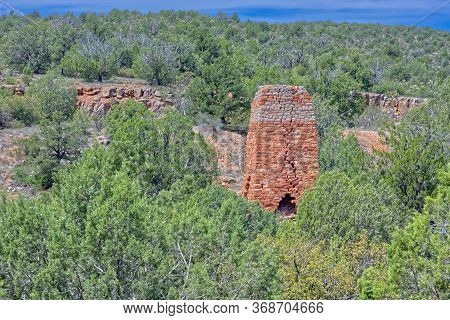 Front View Of The Historic Puntenney Kiln In The Prescott National Forest Of Arizona. The Kiln Is On