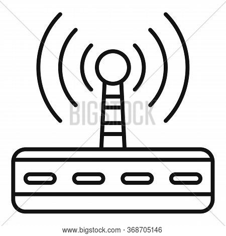 Wifi Router Radiation Icon. Outline Wifi Router Radiation Vector Icon For Web Design Isolated On Whi