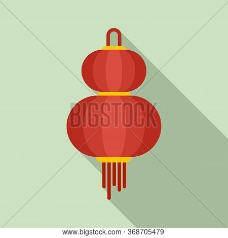 Asian Chinese Lantern Icon. Flat Illustration Of Asian Chinese Lantern Vector Icon For Web Design