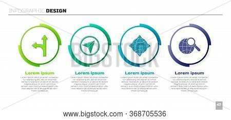 Set Road Traffic Sign, Infographic Of City Map Navigation, World Globe With Compass And Magnifying G