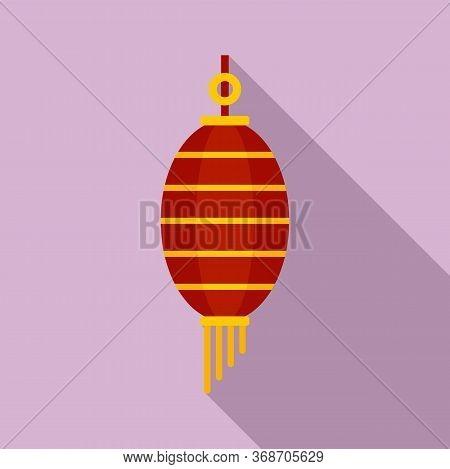 Gold Chinese Lantern Icon. Flat Illustration Of Gold Chinese Lantern Vector Icon For Web Design