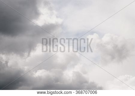 Gray Clouds In The Sky. Beautiful Gray And White Cloudy Rainy Sky