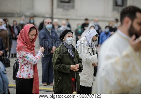 People Attend An Orthodox Church Service Outside The Patriarchal Palace With Social Distancing Durin