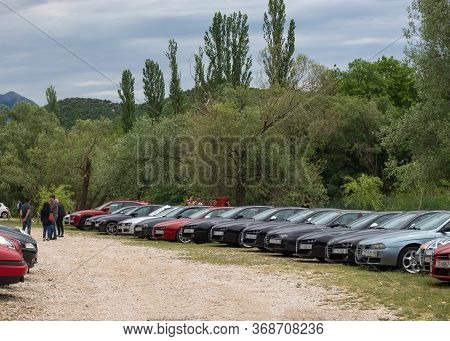 Blato Croatia, May 2020 Alfa Romeo 156s And 159s Lined Up On A Parking Field In Nature. Italian Car