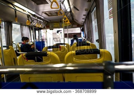 May 29, 2020. Photos Of Yellow Passenger Seats On Buses And Soft Focus In Bangkok, Thailand.