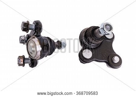 Spherical Joint. Tie Rod End Or Ball Joint Isolated On White, Automotive Part