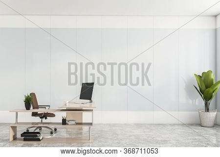 Interior Of Minimalistic Ceo Office With White Panel Walls, Concrete Floor And Stylish Computer Tabl