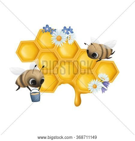 Honeycombs With Honey With Little Bees On A White Background. Digital Illustraton