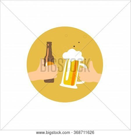 Concept Of The International Beer Day. 2 Hands Hold A Beer Glass And A Beer Bottle And Clink Against