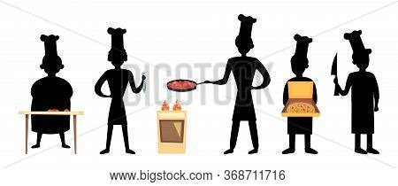 Professional Cooking Concept. Silhouettes Of Restaurant Staff, Chef Characters Set. Set Of Cooks In
