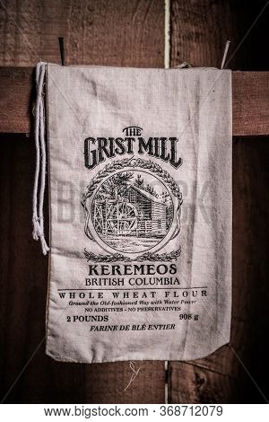 Keremeos, British Columbia/canada - June 3, 2017: A Flour Sack In The Grist Mill At The Grist Mill A