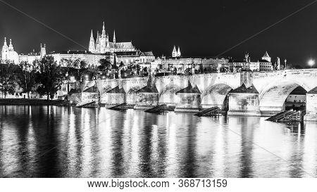 Prague Night Panorama. Prague Castle And Charles Bridge Above Vltava River, Praha, Czech Republic