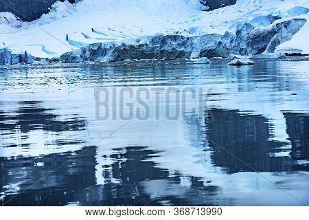 Blue Glacier Snow Mountains Reflection Paradise Bay Skintorp Cove Antarctica. Glacier Ice Blue Becau