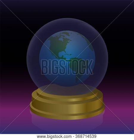 Crystal Ball With Planet Earth. Symbol For Forecast, Fortune Telling, Oracle And Future Prediction O