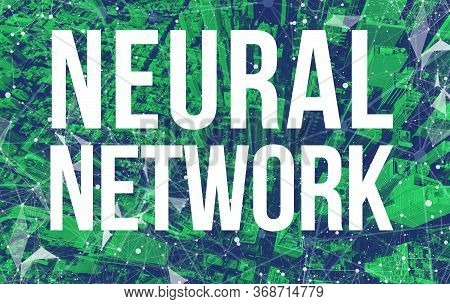 Neural Network Theme With Abstract Network Patterns And Manhattan Ny Skyscrapers