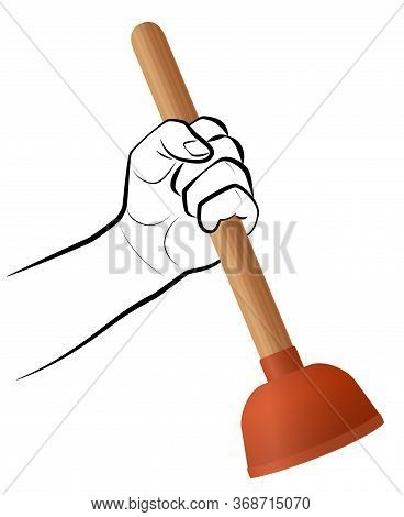 Plumber With Toilet Plunger, Symbolic For Professional Bathroom Service. Domestic Housework Tool To