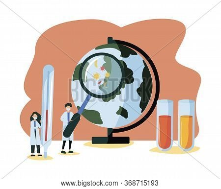 Epidemiology Vector Illustration. Flat Tiny Bacteria Pandemic Outbreak Research. Health Danger Risk