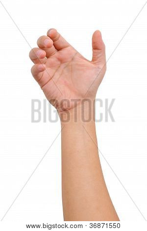 Hand Of A Man To Hold Card, Mobile Phone, Tablet Pc Or Other Palm Gadget