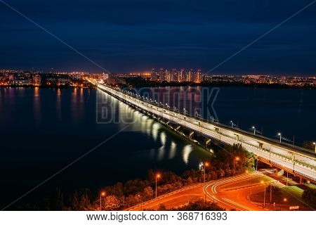 Night Voronezh. Northern Bridge Over Voronezh River, Aerial View