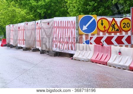 Roadworks Signs On The Highway General Plan Color