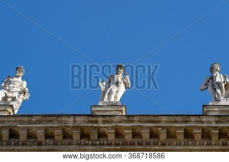 Allegorical Sculptures Of Attica On Top Of Museum Of Ethnography In Budapest