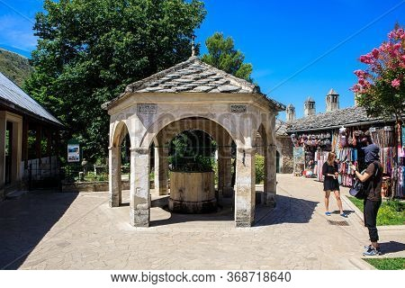 Mostar, Bosnia And Herzegovina - July 11, 2019: Well In The Yard Of Koski Mehmed Pasha Mosque In Mos