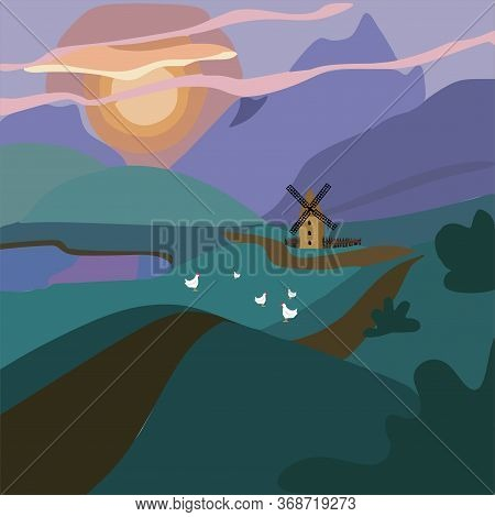 A Rural Area With An Old Mill, Chickens Grazing In A Meadow, A Dirt Road And The Setting Sun.the Far