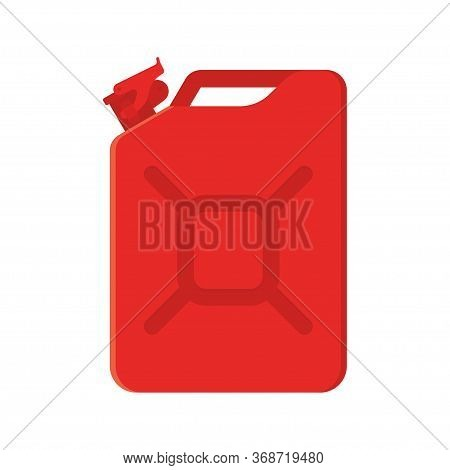 Red Metal Jerrycan. Vector Illustration Isolated On White Background