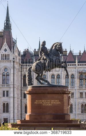 Budapest, Hungary - Feb 8, 2020: Bronze Equestrian Statue Of Ferenc Rakoczi At Kossuth Square Parlia