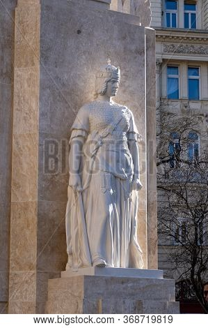 Budapest, Hungary - Feb 8, 2020: Limestone Monument To The National Martyrs On Martyrs Square Near K