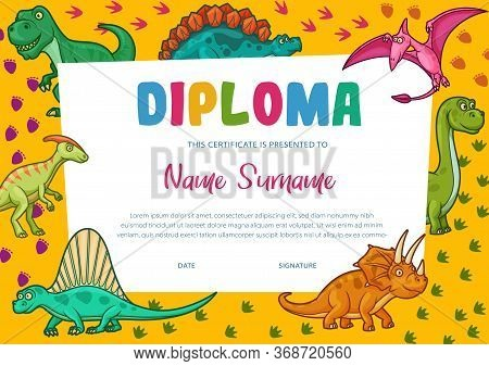 Kids Diploma Certificate Template, Vector Education Graduation Award With Cartoon Dinosaurs. Prescho
