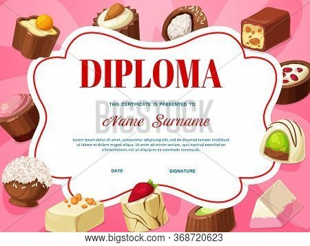 Kids Diploma Certificate Template With Vector Background Frame Of Chocolate Candies. Education Award