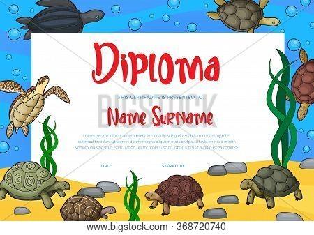 Kids Diploma Or Education Certificate Vector Template Of School, Kindergarten, Preschool Graduation