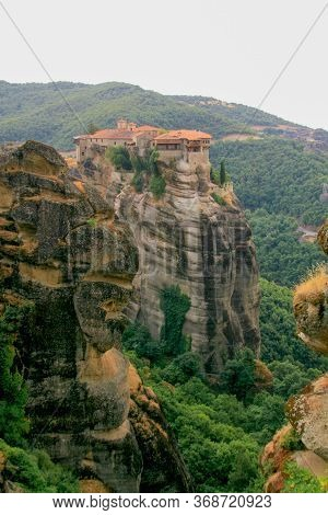 Holy Trinity Monastery At Meteora, Greece. The Monasteries Of Meteora Is Picturesque Religious Compl