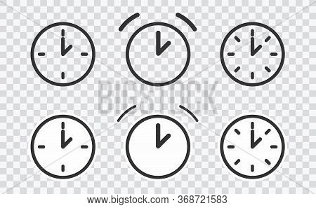 Vector Time And Clock Icons In Thin Line Style. On Transparent Eps 10