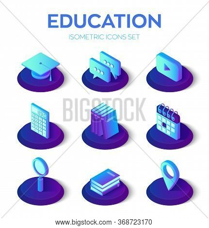 Education Isons Set. 3d Isometric Icons For Learning Or Education Internet Technology Concept. E-lea