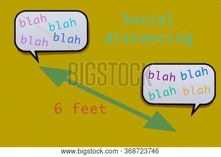 two speech balloons, with words blah blah blah written in them, separated 6 feet by a green line, and the text social distancing on a yellow background