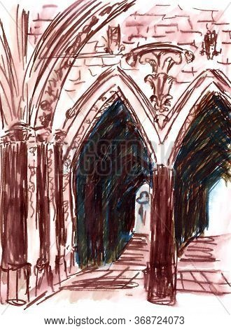 Arched Passage In Westminster Cathedral Travel Sketch