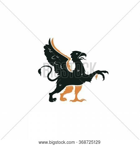 Heraldic Griffin Passant Of The Family Crest. Vintage Mythical Animal With Body Of A Lion, An Eagle