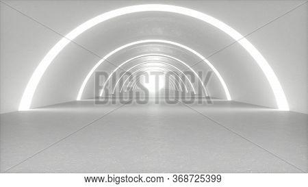 Illuminated Corridor Interior Design. Modern Interior Design. Hallway With Lights. Abstract Modern M
