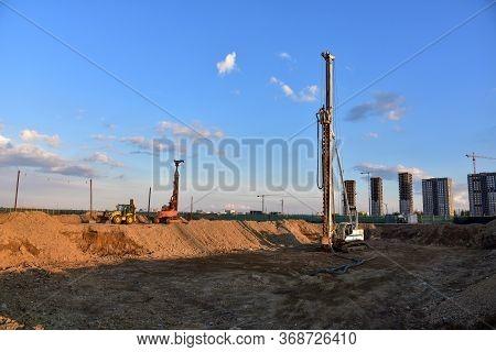 Vertical Tamrock Pile Foundation Drilling Machine. Drill Rig At Construction Site. Ground Improvemen